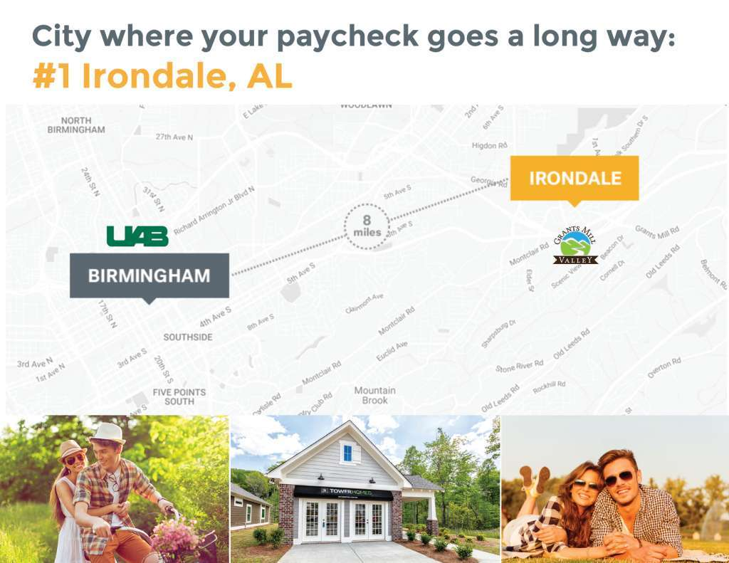 Map UAB to Tower Homes in Irondale - Where your paycheck goes a long way.
