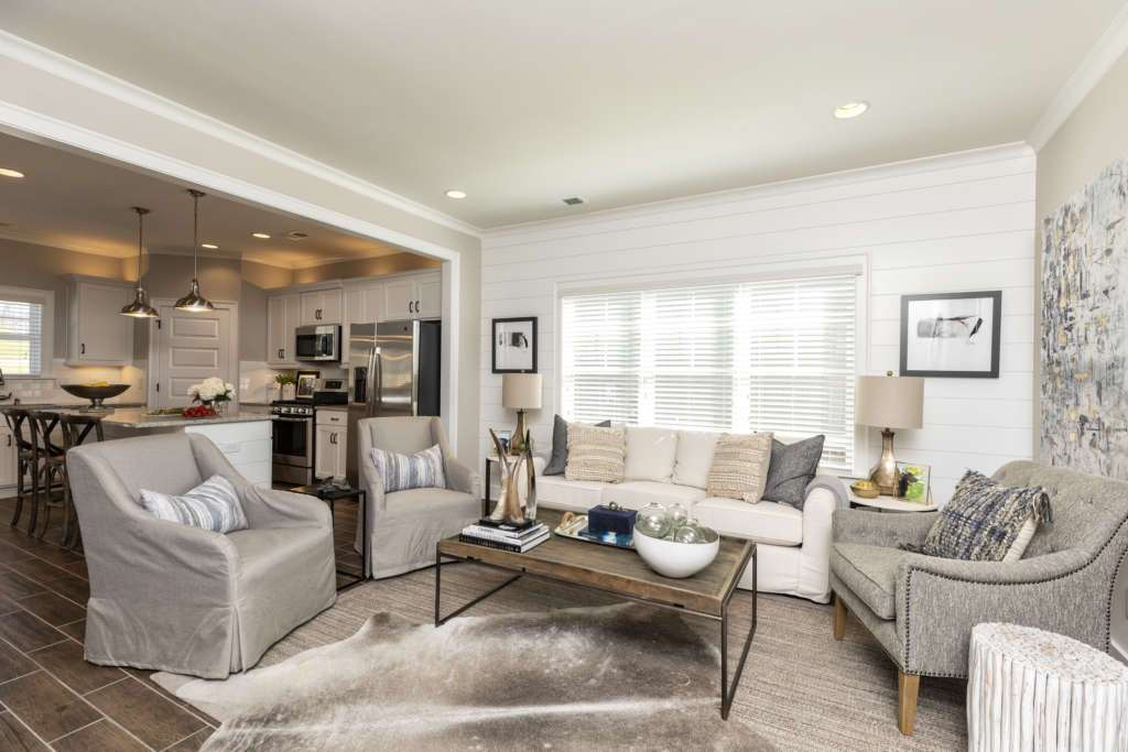 A living room in one of the new homes at Oxmoor Village