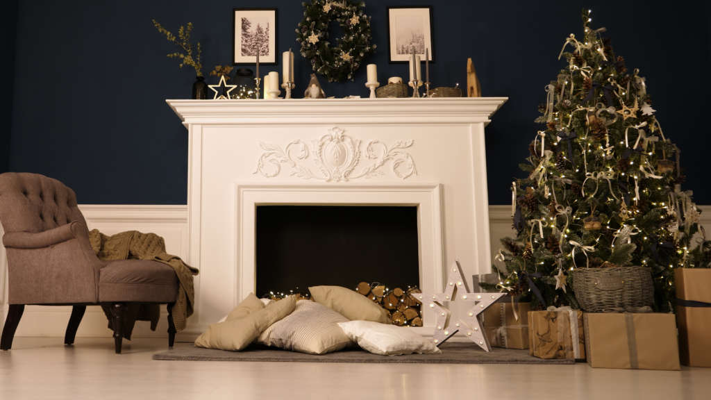 A cozy mantel with decor