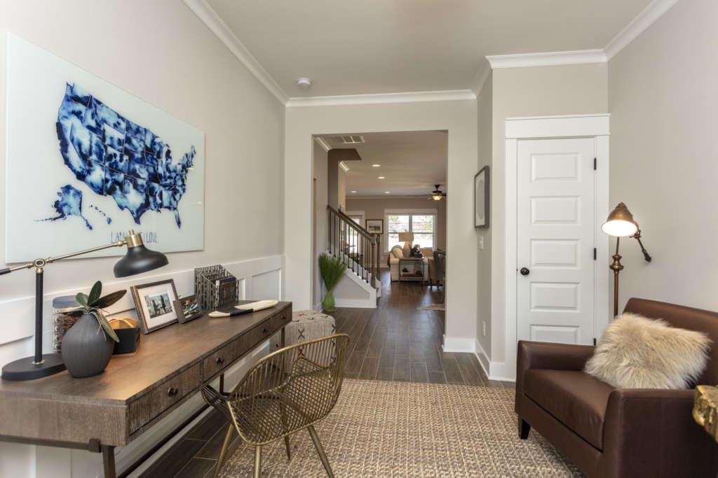 an office in the hamilton floor plan home