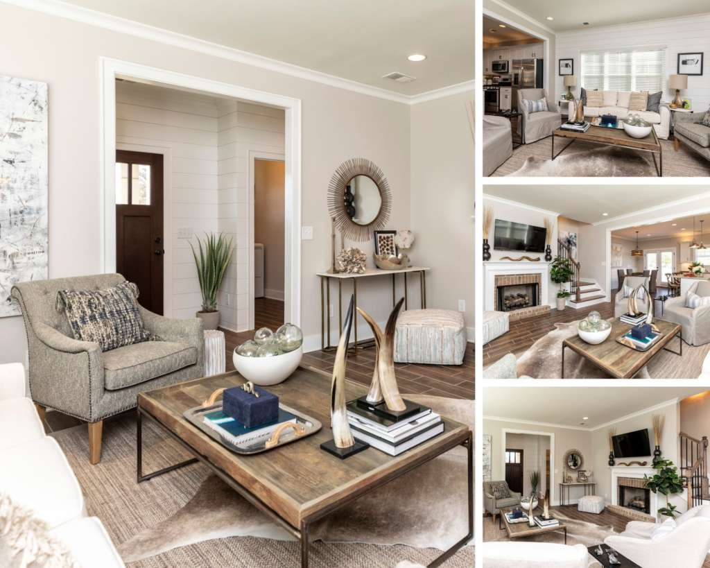 The open concept living room in the edward