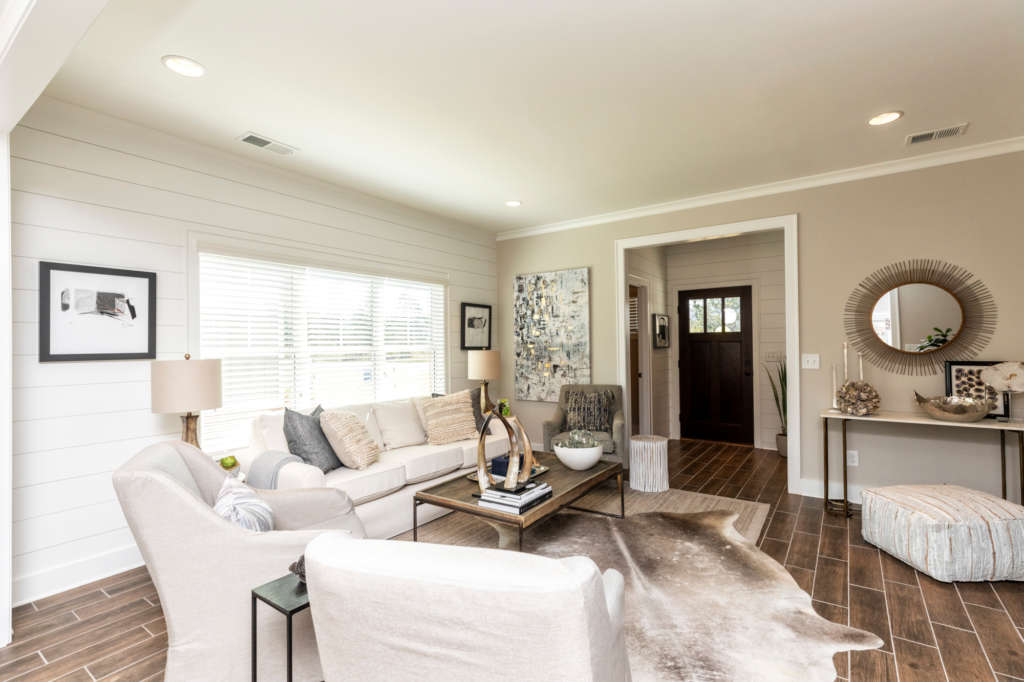 A living room in one of the new homes in irondale at The Ridge